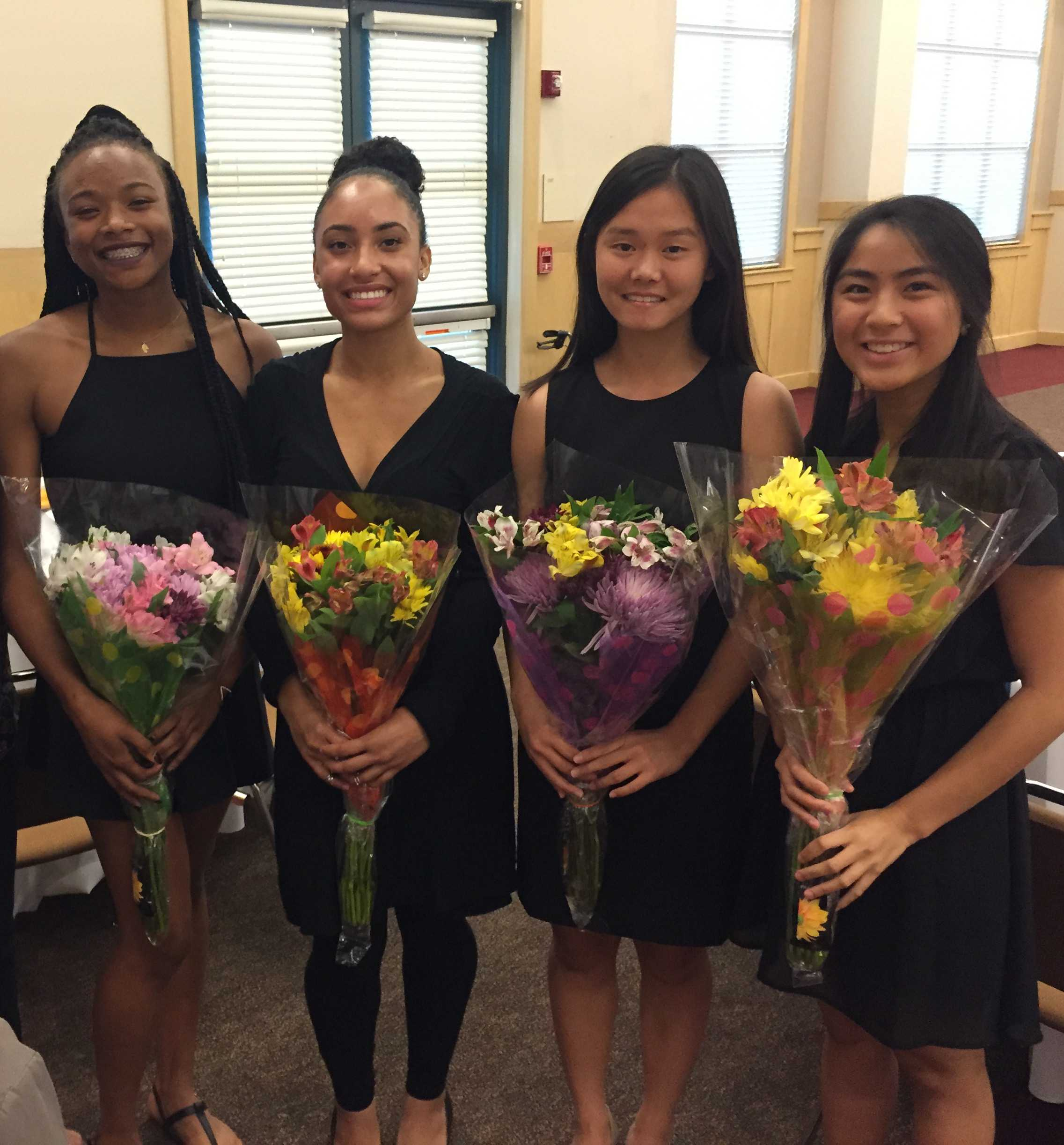 The students in the photo (from left to right) are Munachi Esomonu (Foothill), Mikai Lewis (Foothill), Nicole Zhang (Amador), and Samantha Corpuz (Amador). They were honored for founding SIAC over the summer of 2015.