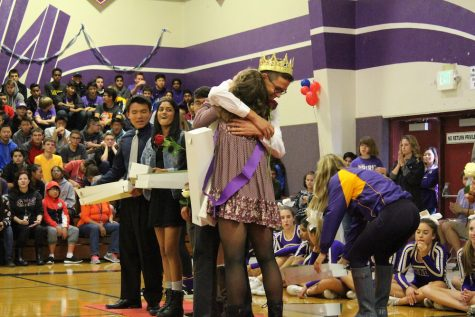 Sophomore Prince and Princess congratulating each other.