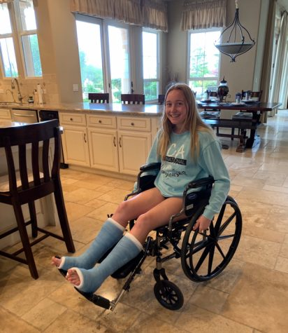 After breaking both ankles in a cheerleading routine, Linzee Alcaide had to spend over a month in a wheelchair.