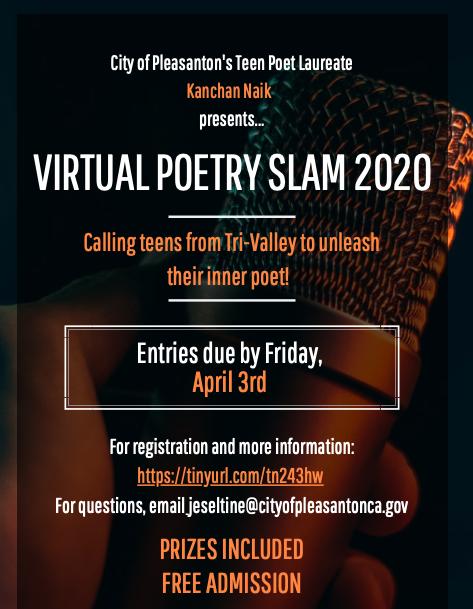 Pleasanton teen poet laureate presents 2020 virtual poetry slam
