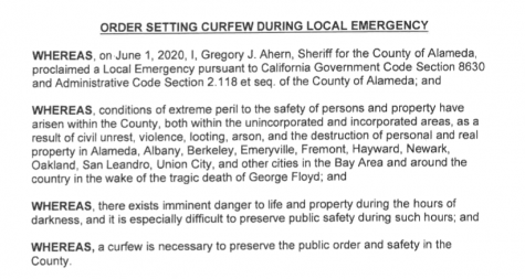 Alameda county is under curfew until further notice