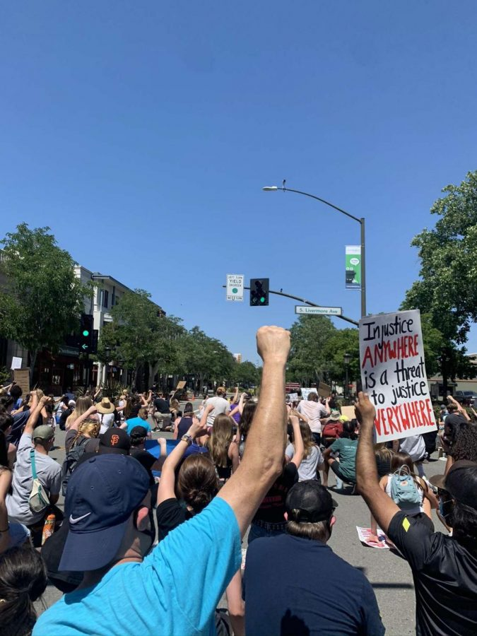 Downtown Pleasanton businesses boarded up fearing violence and looting, but on June 6, 2020 the protesters gathered to shout their message in peace.