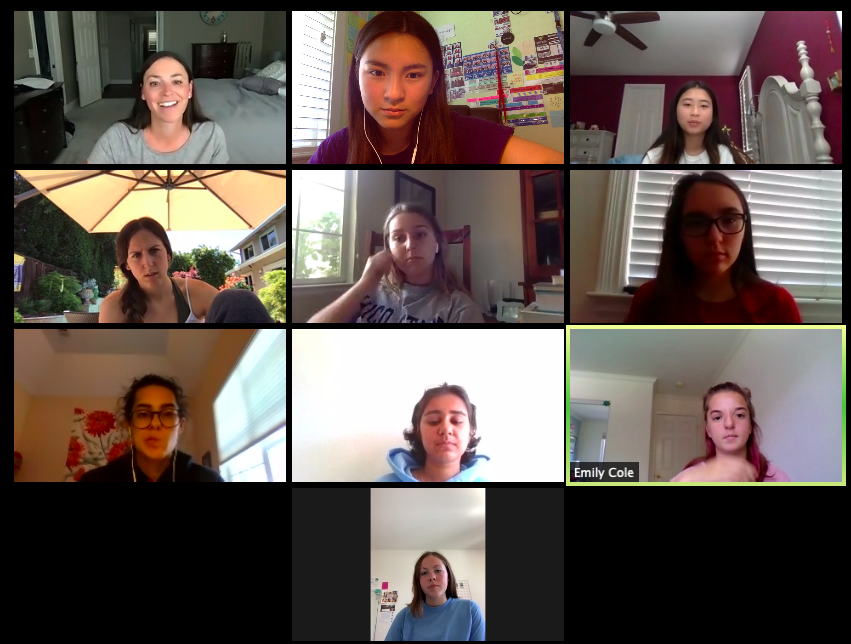 The 2020-2021 AV yearbook staff meets regularly to plan the format of the coming school years yearbook format and design.