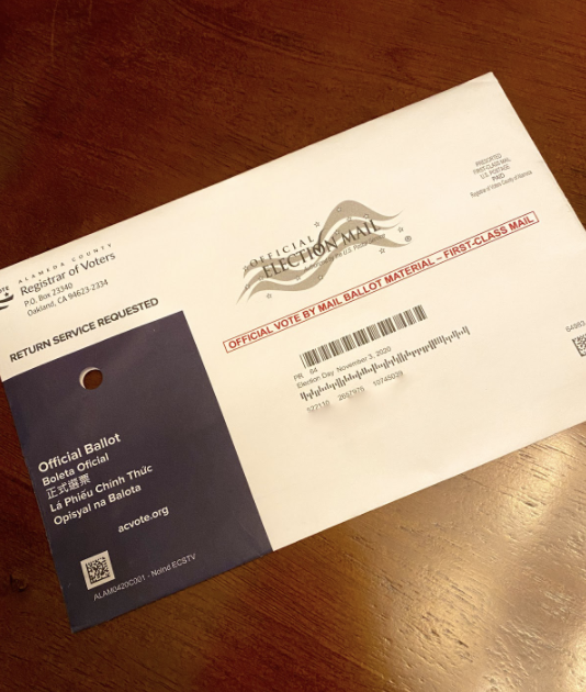 Registered voters receive their ballots in this envelope, either mailing it back or dropping their ballot off at an established polling location.