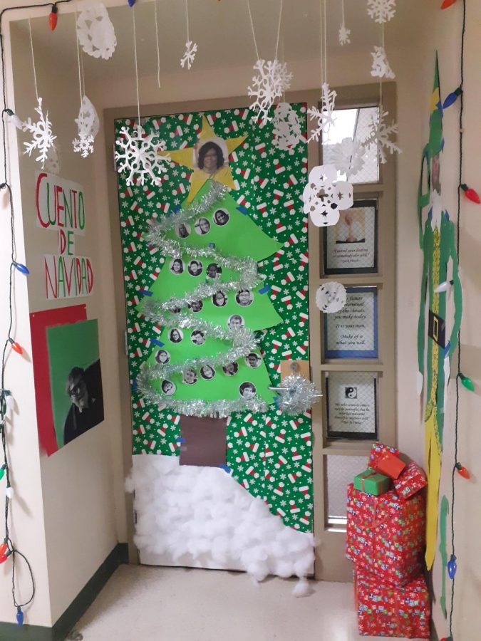 Christmas decorations on Sra. Lord Eyewe's door from December 2019. This year, students will not be able to participate in similar activities.