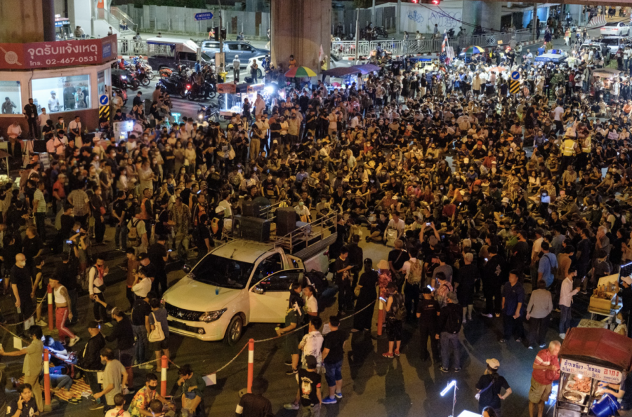 Hundreds of people gathered to protest Thailand's constitutional monarchy.