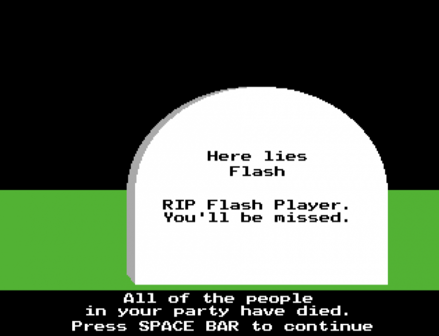 A grave in a Flash Game known as The Oregon Trail Game, depicting the end of Flash Player.