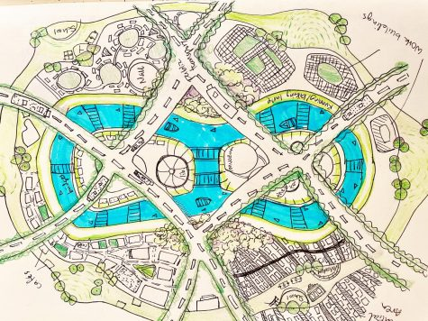 During quarantine, artist Amy Wang ('21), focused on architechtural drawings. She drew a layout of a sustainable city, as well as painting various buildings.