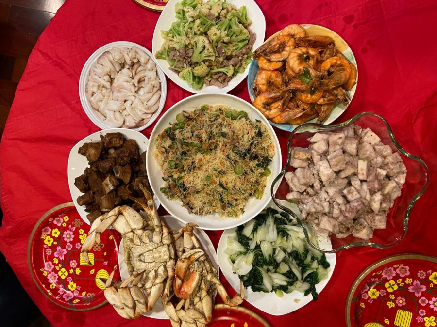 Grace Chen's family also boasted an appetizing feast for their Lunar New Year dinner, topped off with a red tablecloth that symbolizes good luck and fortune.