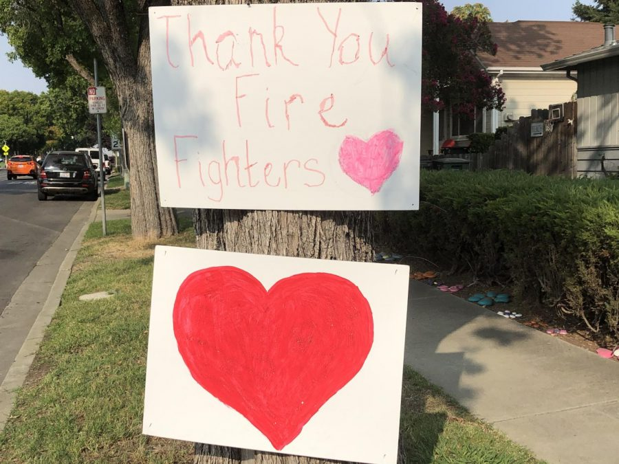 Residents around town drew posters to commemorate firefighters.