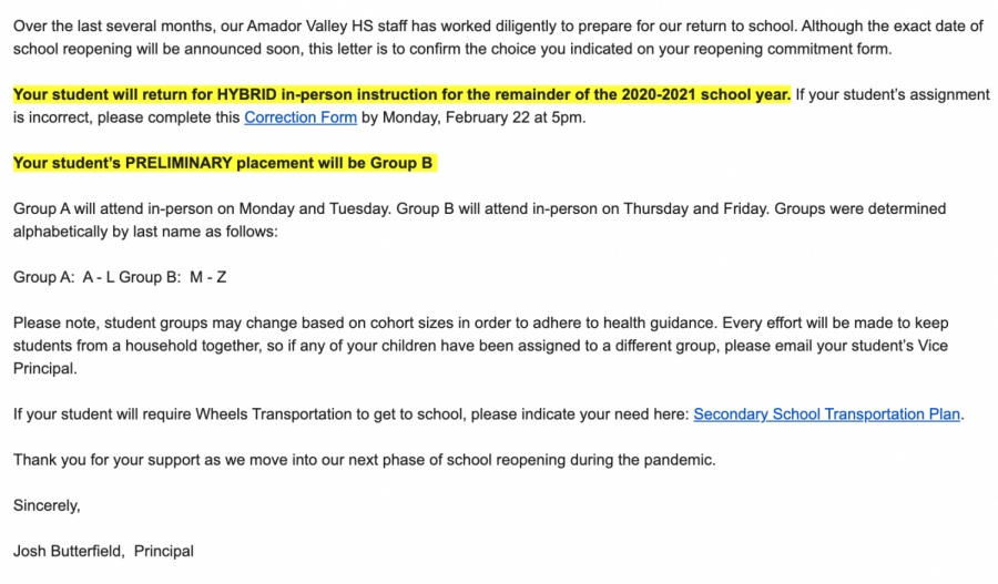 Students received an email on Wednesday informing them on which group they are in.