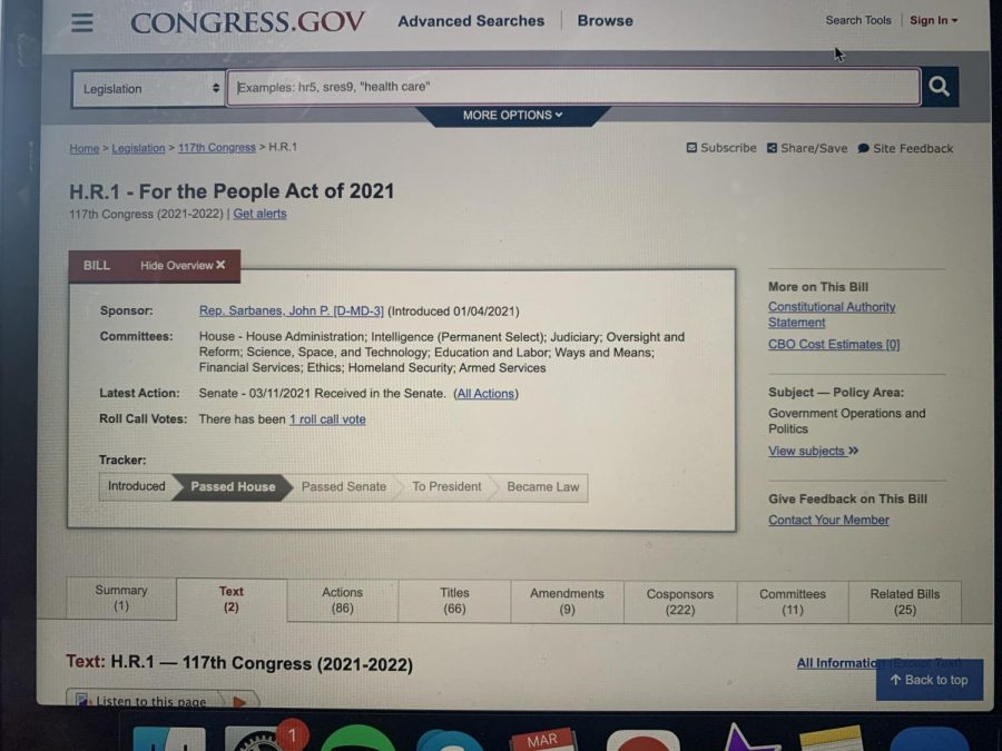 H.R.1: For the People Act of 2021 was passed by the House of Representatives on Wednesday, March 3rd.
