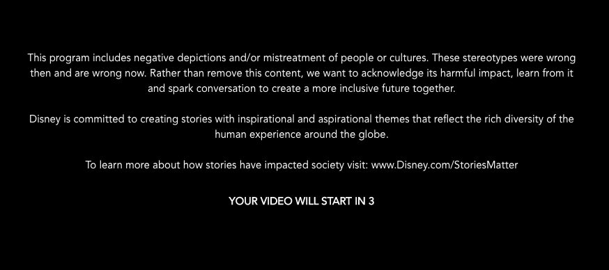 Seen here is the disclaimer in the beginning of the films.