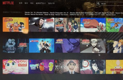 Anime series are available on many platforms , such as Netflix seen here.