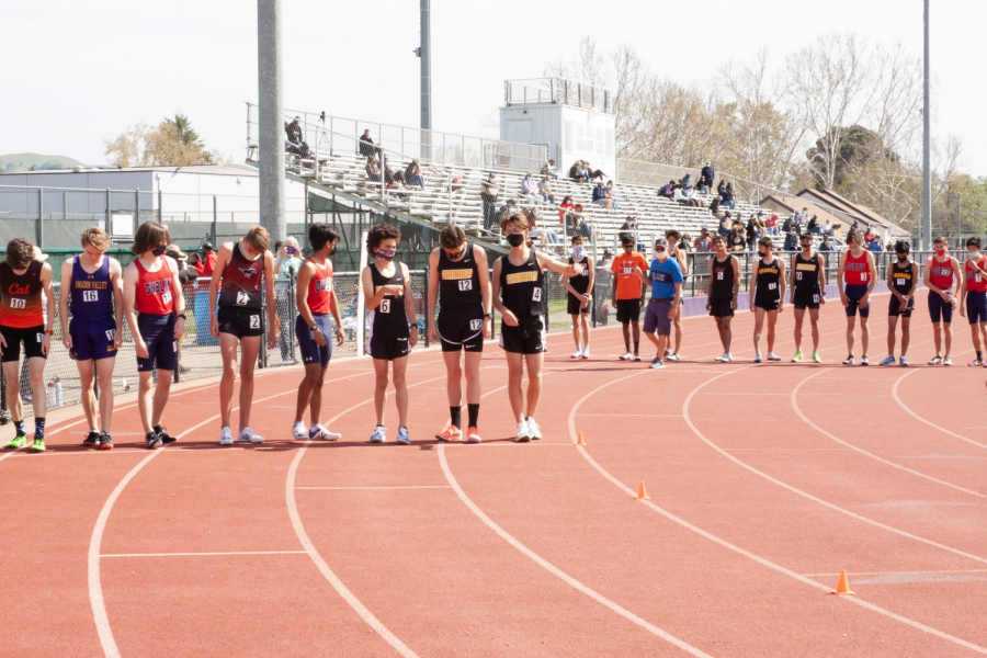 Here we see runners from all schools lining up for an 800 meter run.