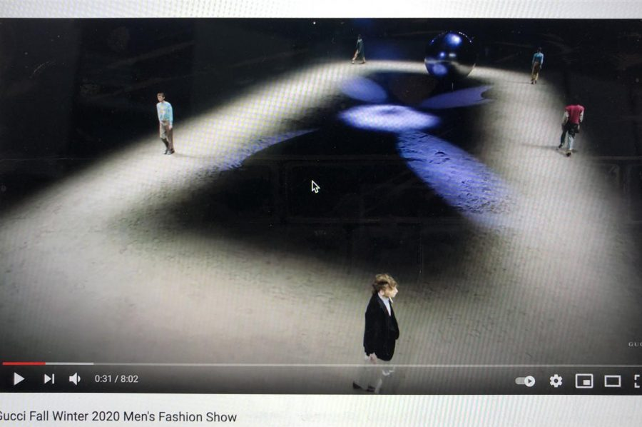 The Gucci Fall Winter 2020 Men's Fashion Show included many elements such as a pendulum.