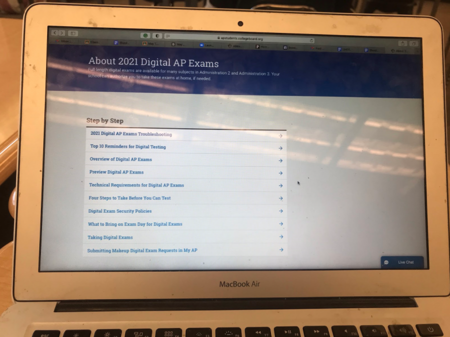 The photo above is the college board AP Student website where AP exams can be monitored.