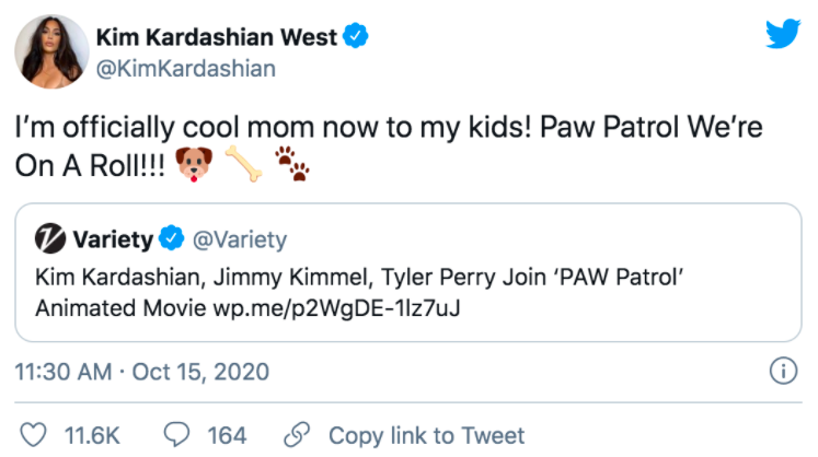 Kim Kardashian's first tweet regarding her new project of being in the