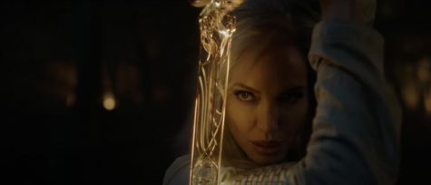Angelina Jolie plays Thena, an Eternal who can manifest objects out of cosmic energy.