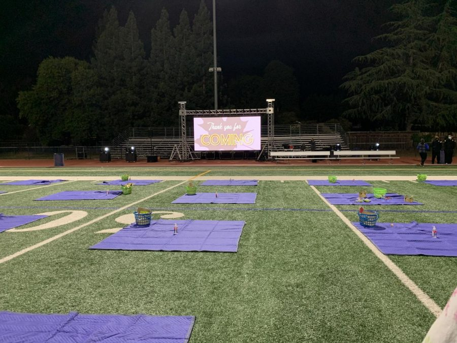 Once the movie ends, students clean up their respective blankets and leave the football field as teacher supervisors stay behind.