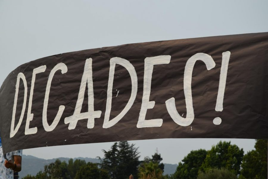 The theme of this year's Homecoming dance, DECADES, was announced during the rally. Freshman got the 1920's, sophomores are going in 2000's wear, juniors get to celebrate in the 1970's, and seniors got disco 80's.