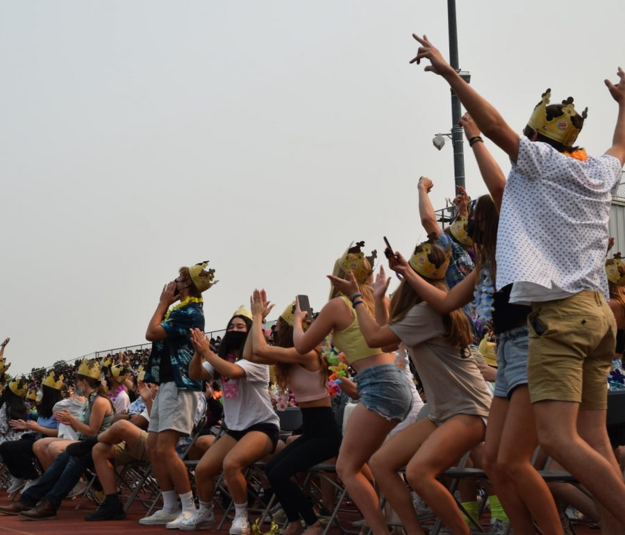 The juniors and seniors cheer for themselves, getting excited for their last year(s) at Amador.