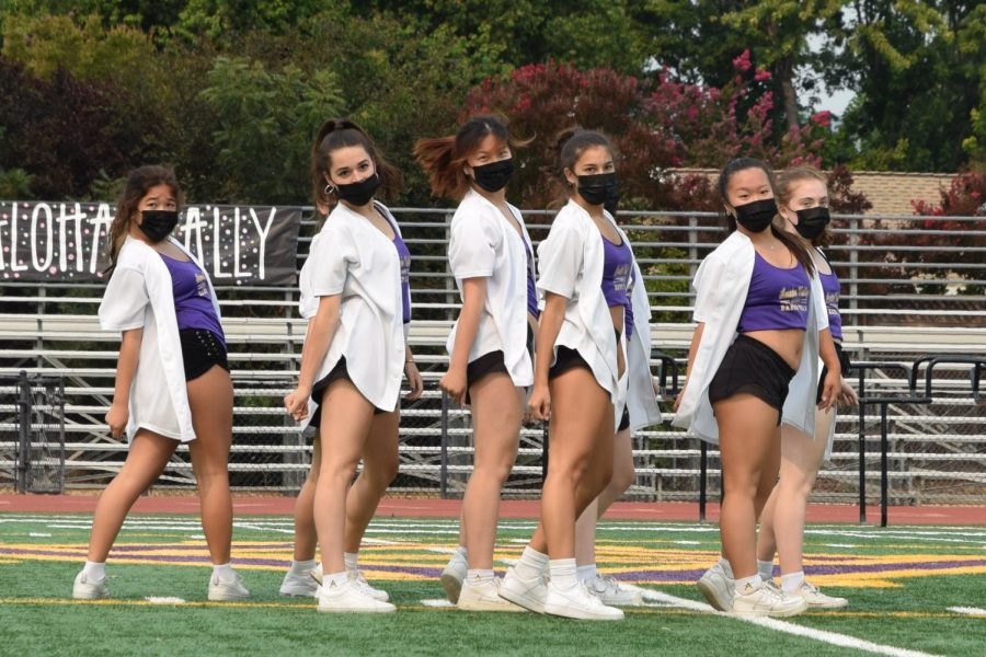 The Amador Valley dance team performed a trendy and fun routine with upbeat songs. They kicked off the rally, being the first performers in 2 years.