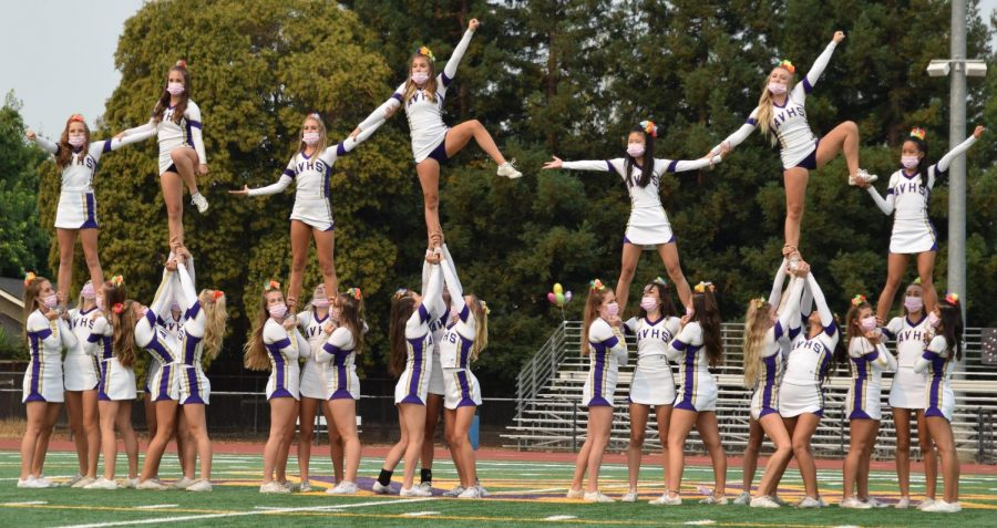Incorporating new stunts, the Varsity Cheer team performed an exciting routine during the rally.