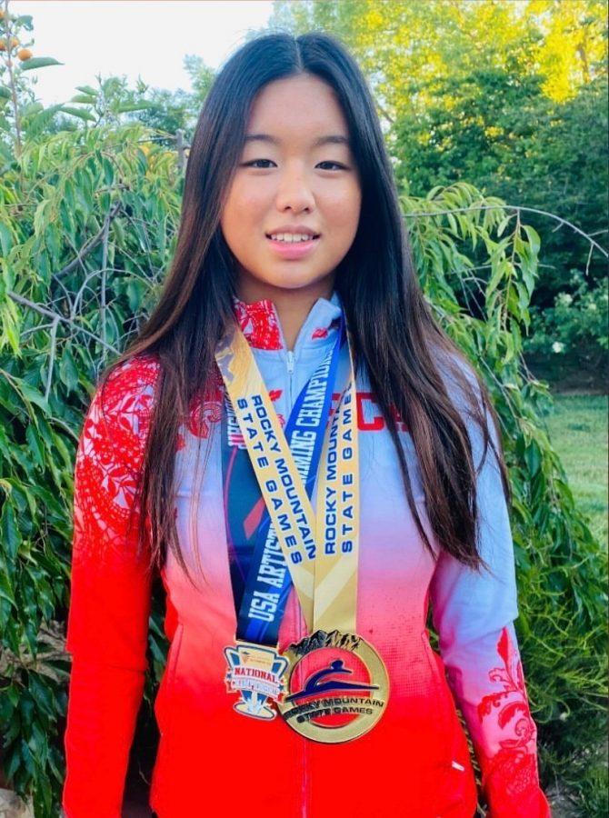 Selina Nakari (22) smiles after winning at the 2021 Junior Olympics.