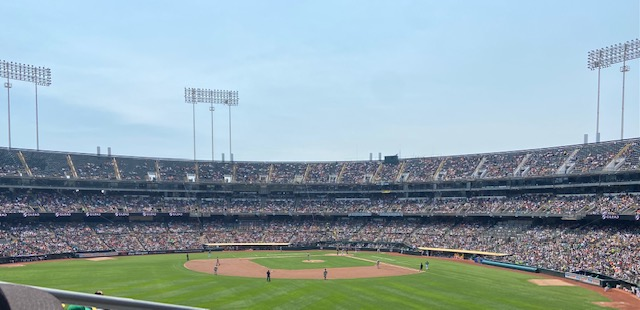 The Oakland A's faced off against the San Francisco Giants in the Battle of the Bay series at a packed Oakland Coliseum.