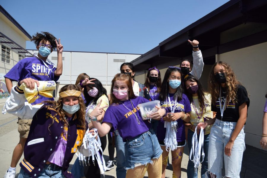 The Leadership Team huddles with camaraderie before they go into the classrooms, sharing the Amador spirit in anticipation for the upcoming game.