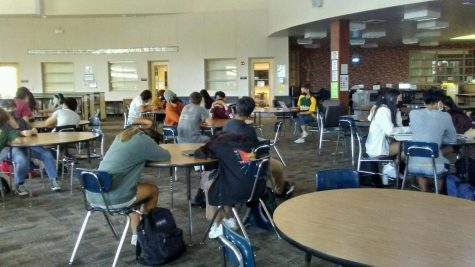 In the library, students sat down quietly during the lockdown.