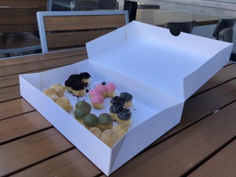 A half dozen box of Mochiholics specialty, mochi donuts, starts at $17.