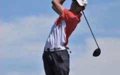 Kush Arora (23) prepares for a swing on the course.