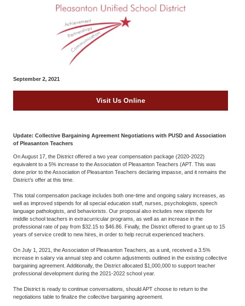 The September 2 email reached Pleasanton students and staff, discussing the current status of teacher contract negotiations with the district.