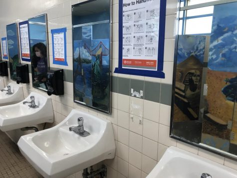 Soap dispensers are missing from their slots in the girls bathroom, as a result of the social media trend to steal school items.