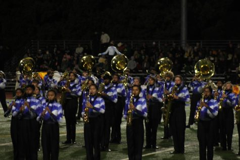 Band performs during the Pink-Out football game on October 8.