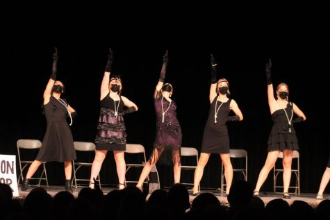 The freshman girls performed their skit in their time period, the 20s.