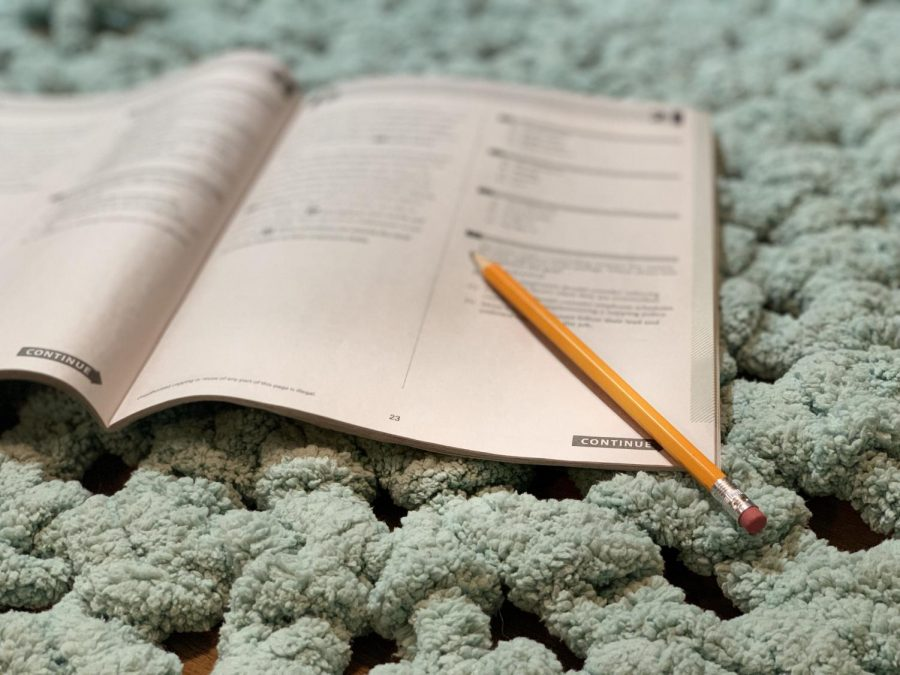 Students prepare for the PSAT using the student guide, which has math and English questions.